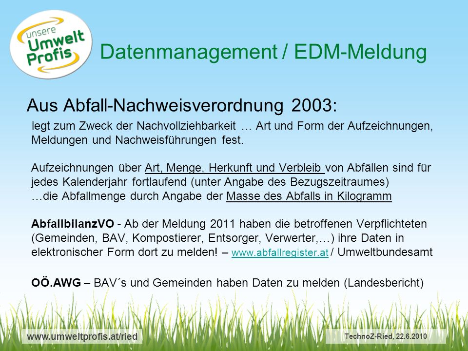 Datenmanagement / EDM-Meldung