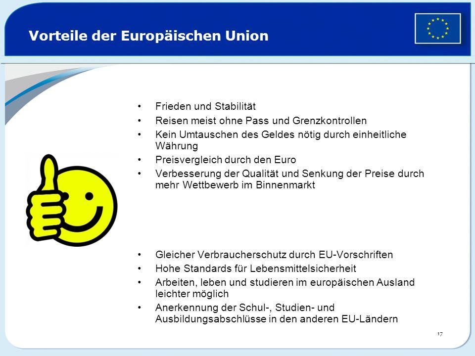 Vorteile der Europäischen Union