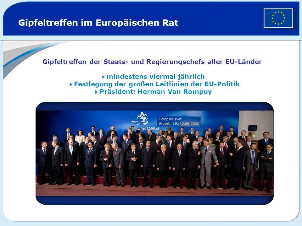Gipfeltreffen im Europäischen Rat