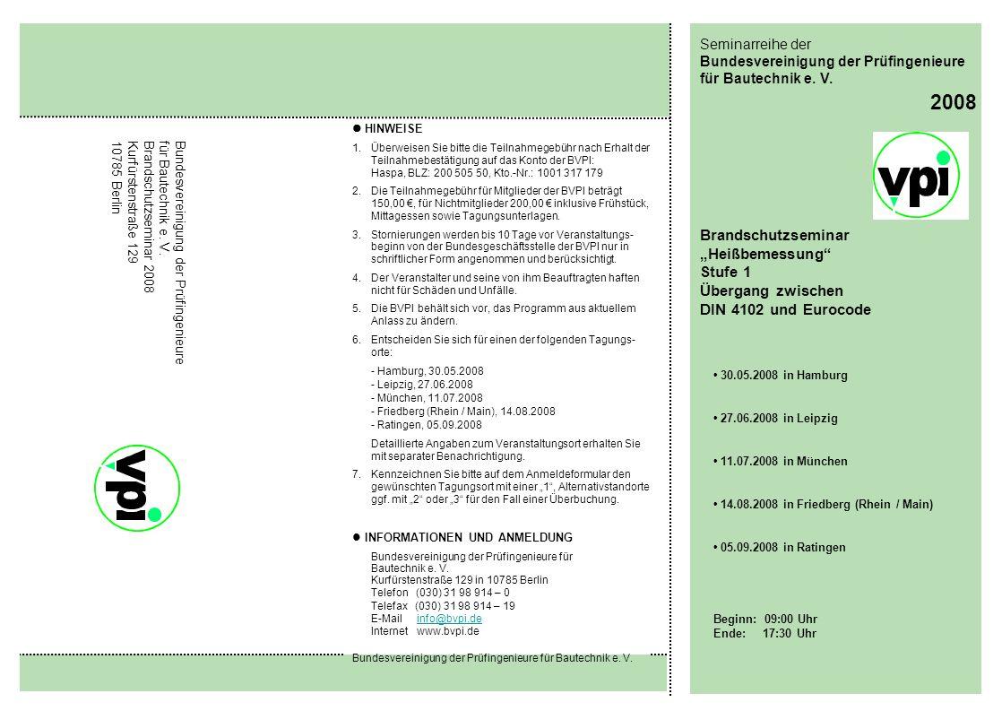 """2008 Brandschutzseminar """"Heißbemessung Stufe 1 Übergang zwischen"""