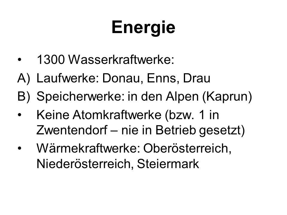 Energie 1300 Wasserkraftwerke: Laufwerke: Donau, Enns, Drau