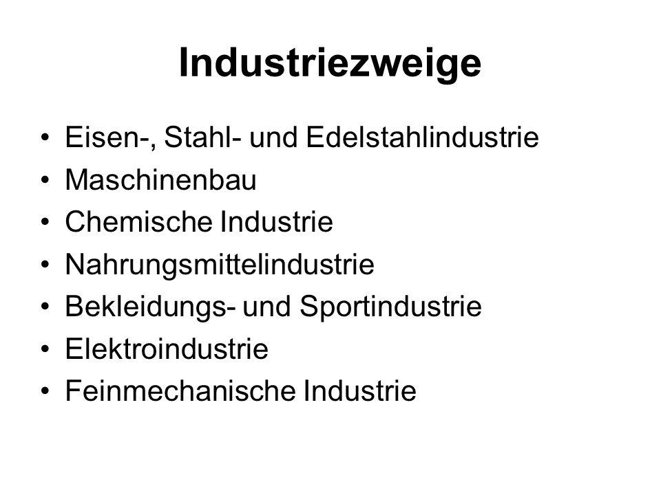 Industriezweige Eisen-, Stahl- und Edelstahlindustrie Maschinenbau