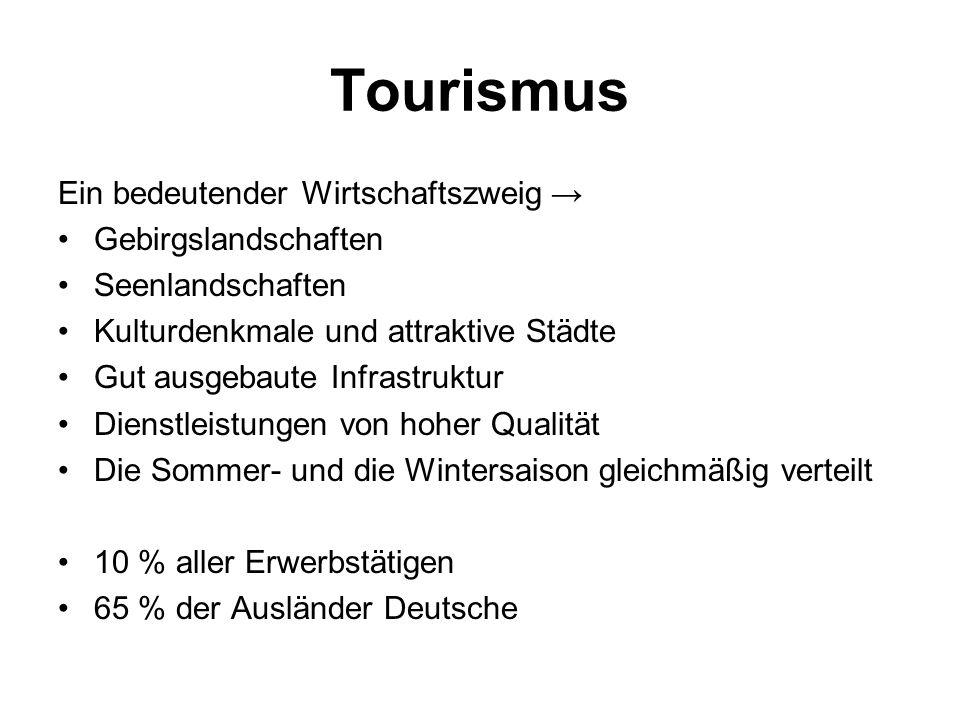 Tourismus Ein bedeutender Wirtschaftszweig → Gebirgslandschaften