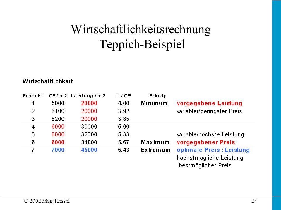 Wirtschaftlichkeitsrechnung Teppich-Beispiel