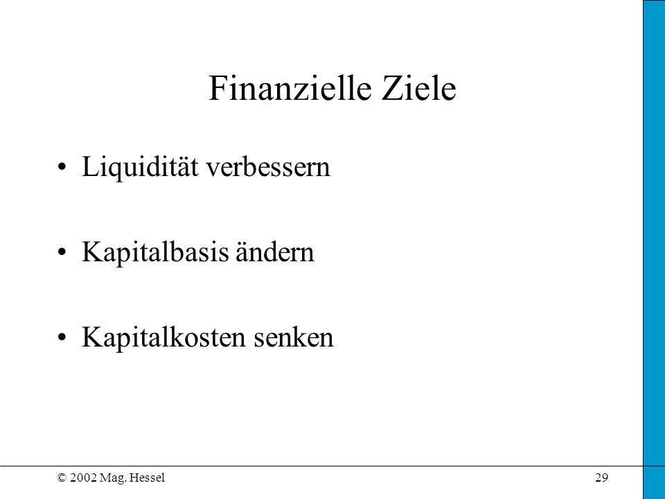 Finanzielle Ziele Liquidität verbessern Kapitalbasis ändern