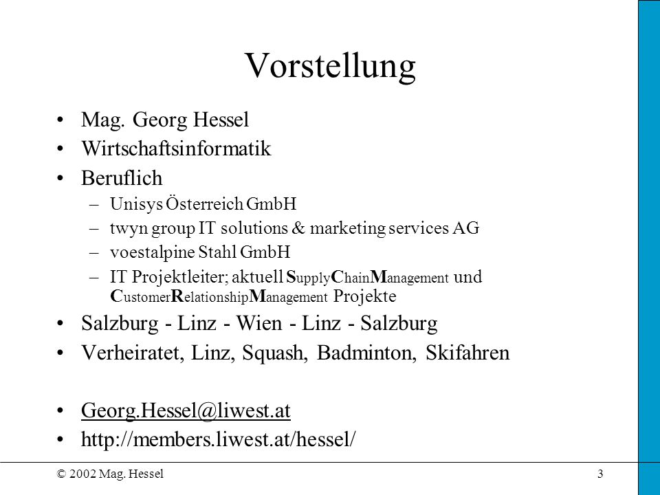 Vorstellung Mag. Georg Hessel Wirtschaftsinformatik Beruflich