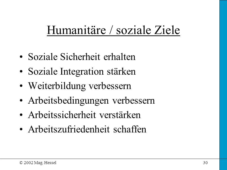 Humanitäre / soziale Ziele
