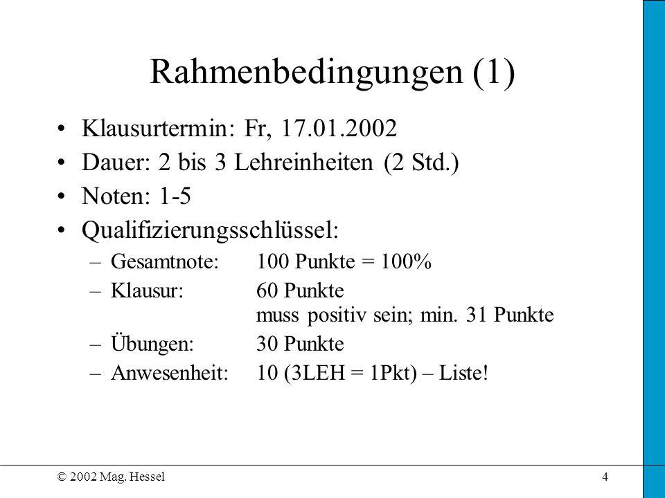 Rahmenbedingungen (1) Klausurtermin: Fr, 17.01.2002