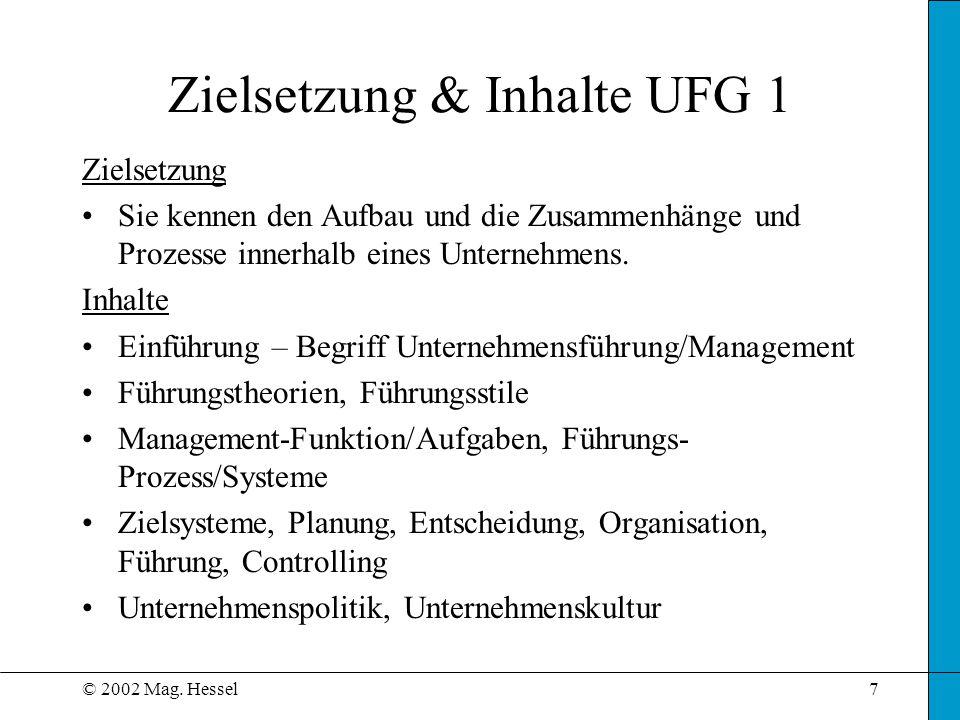 Zielsetzung & Inhalte UFG 1
