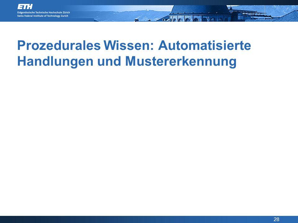 Prozedurales Wissen: Automatisierte Handlungen und Mustererkennung