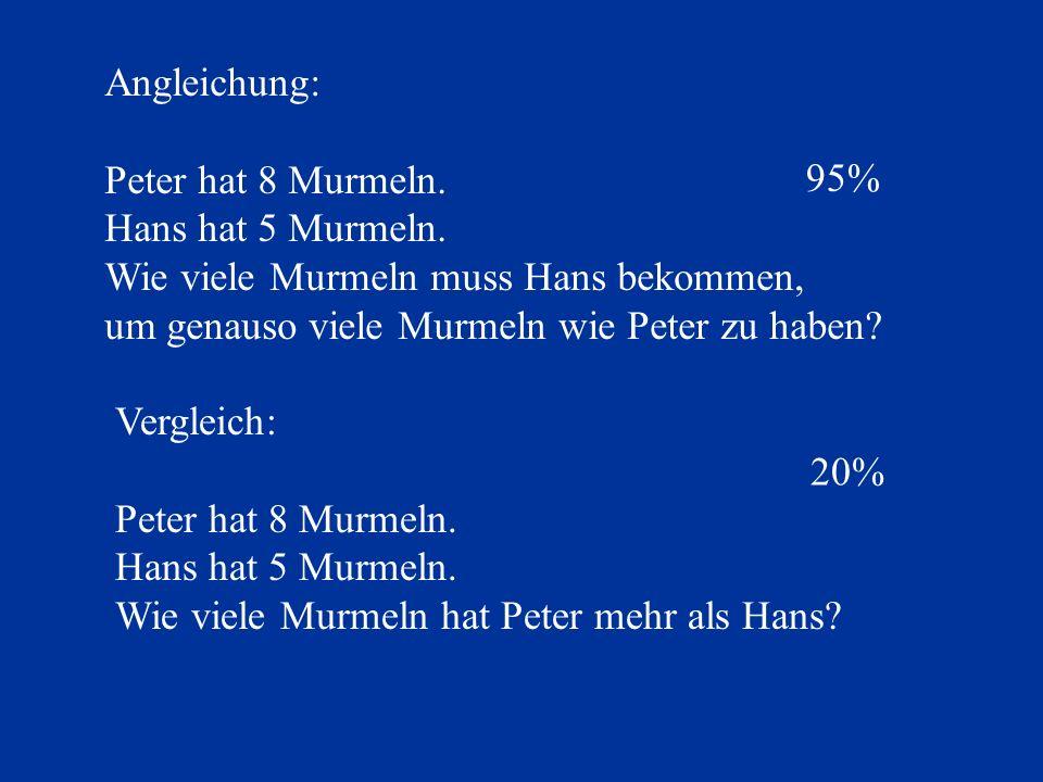 Angleichung: Peter hat 8 Murmeln. Hans hat 5 Murmeln. Wie viele Murmeln muss Hans bekommen, um genauso viele Murmeln wie Peter zu haben
