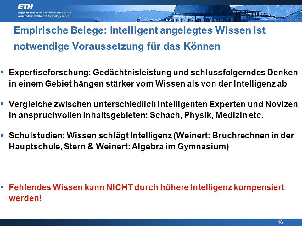 Empirische Belege: Intelligent angelegtes Wissen ist notwendige Voraussetzung für das Können