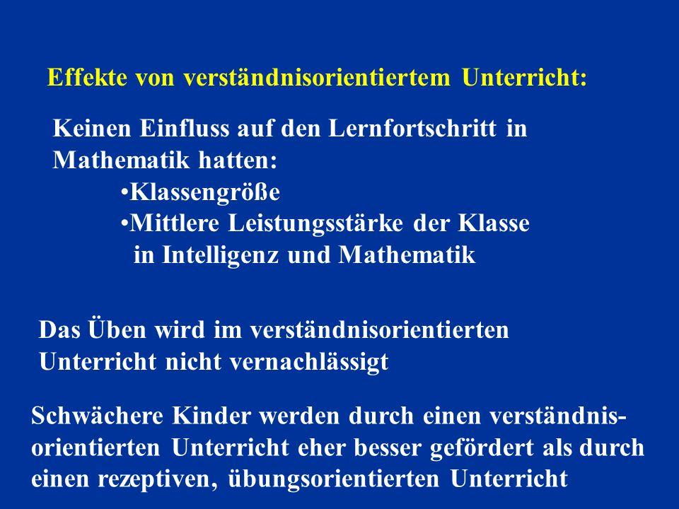 Effekte von verständnisorientiertem Unterricht:
