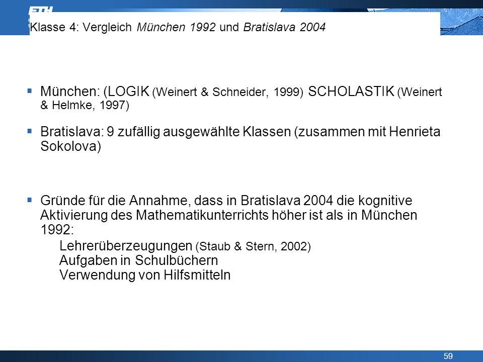 Klasse 4: Vergleich München 1992 und Bratislava 2004