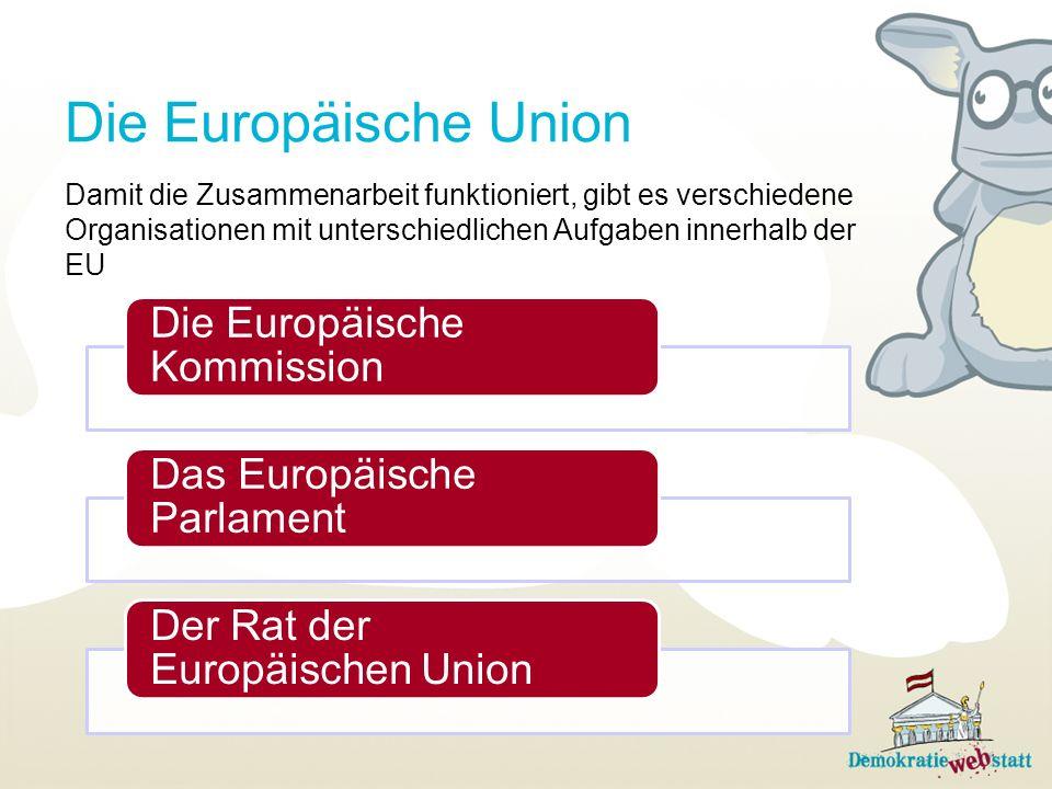 Die Europäische Union Damit die Zusammenarbeit funktioniert, gibt es verschiedene Organisationen mit unterschiedlichen Aufgaben innerhalb der EU.