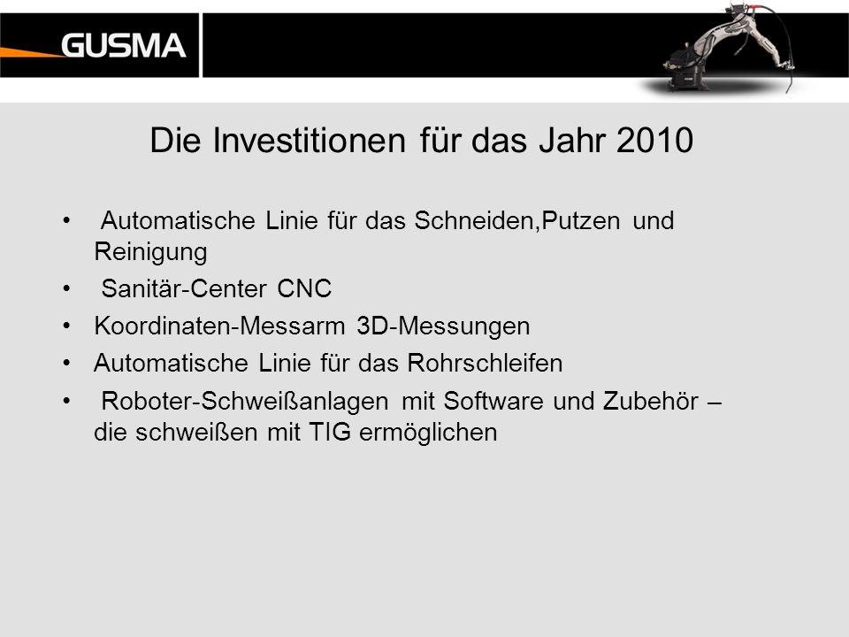 Die Investitionen für das Jahr 2010