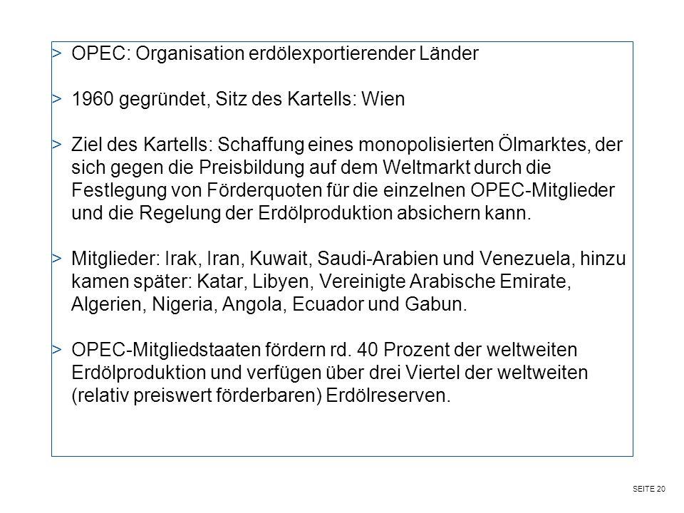 OPEC: Organisation erdölexportierender Länder