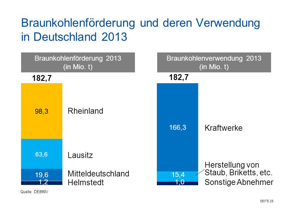 Braunkohlenförderung und deren Verwendung in Deutschland 2013