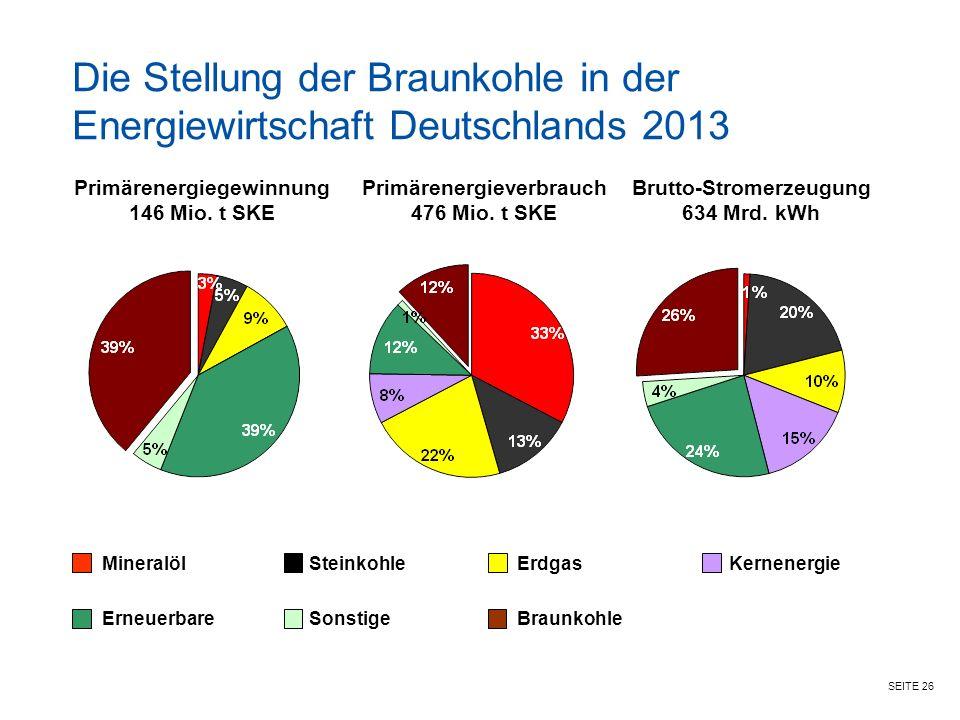 Die Stellung der Braunkohle in der Energiewirtschaft Deutschlands 2013