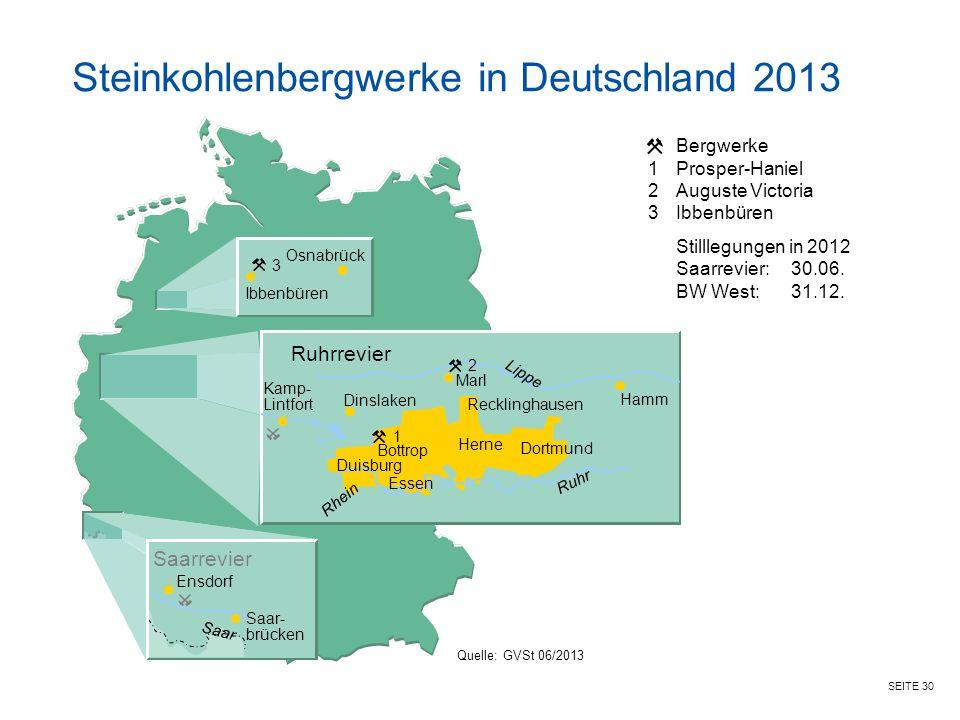 Steinkohlenbergwerke in Deutschland 2013