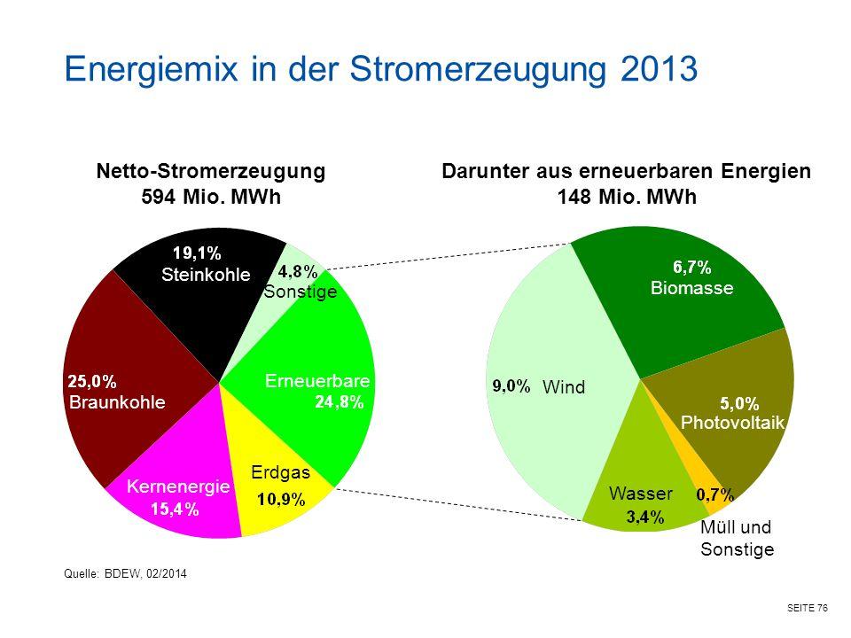 Energiemix in der Stromerzeugung 2013