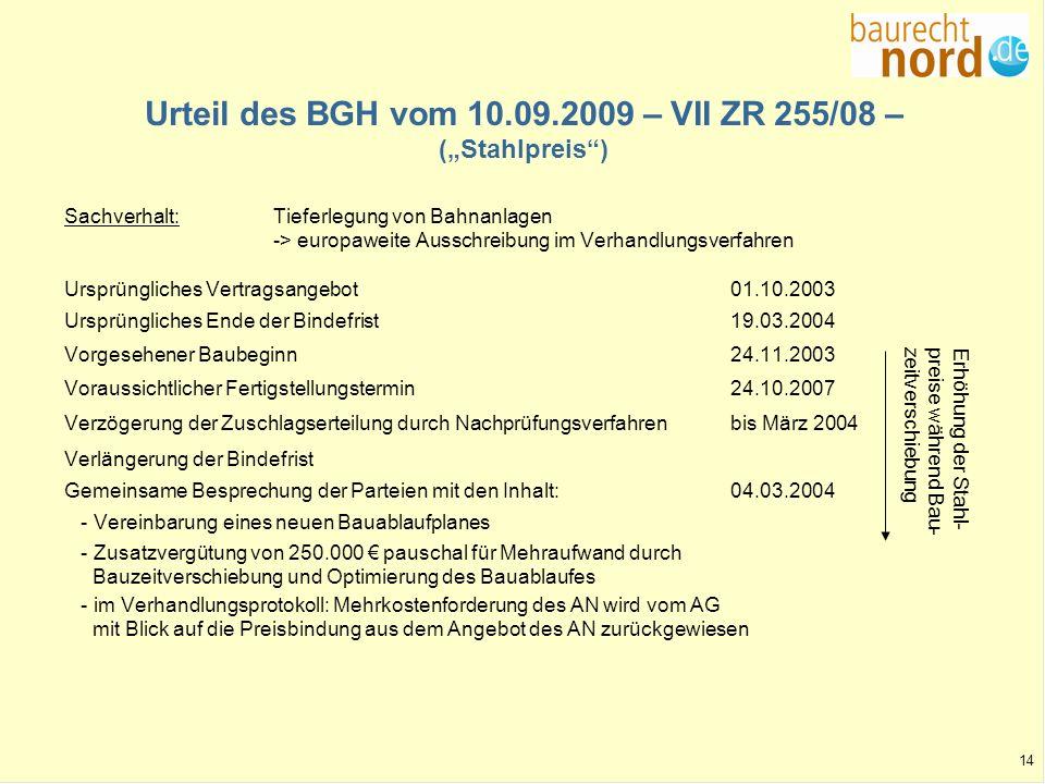 """Urteil des BGH vom 10.09.2009 – VII ZR 255/08 – (""""Stahlpreis )"""