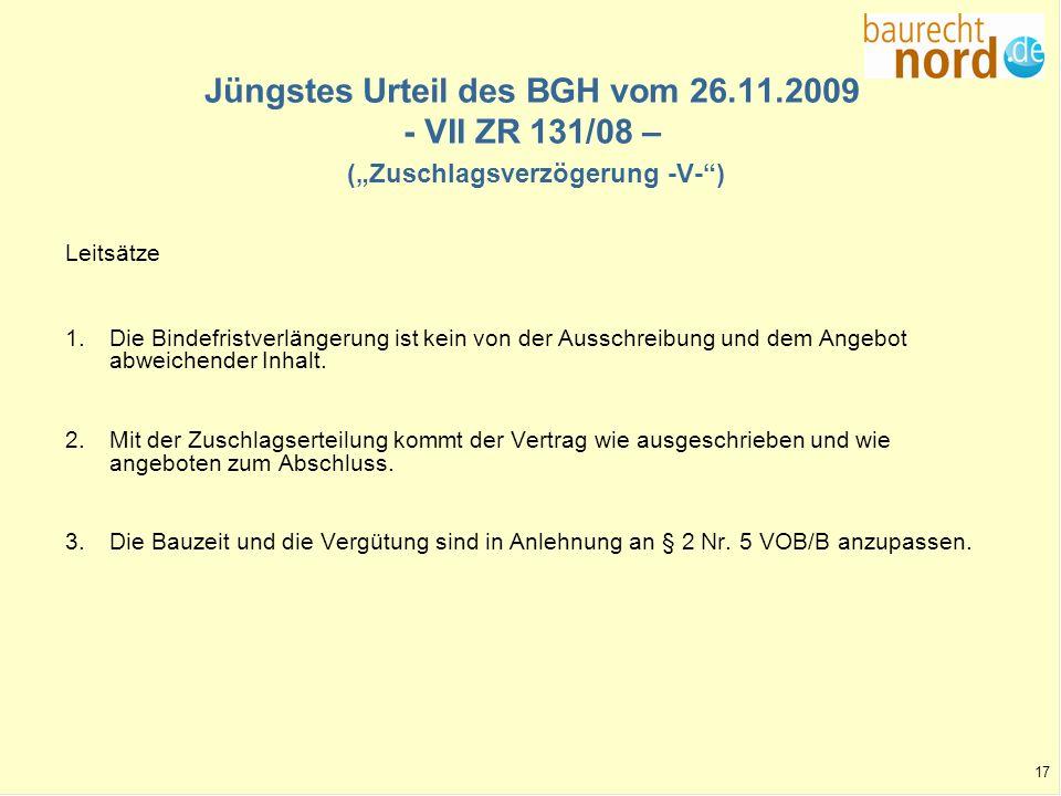 Jüngstes Urteil des BGH vom 26. 11