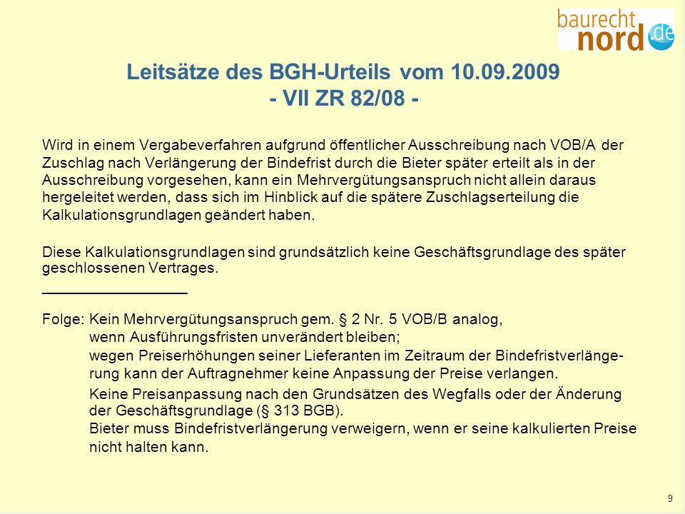 Leitsätze des BGH-Urteils vom 10.09.2009 - VII ZR 82/08 -