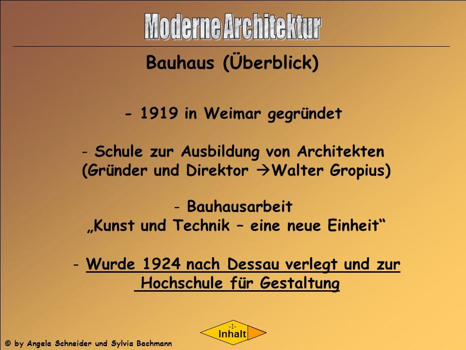 Moderne Architektur Bauhaus (Überblick) - 1919 in Weimar gegründet