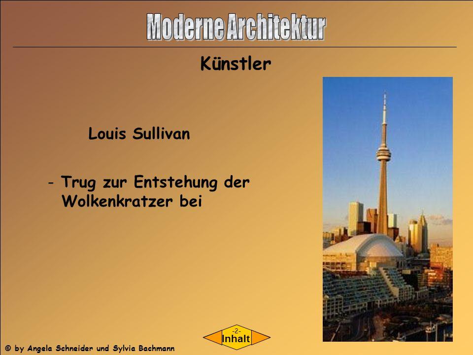 Moderne Architektur Künstler Louis Sullivan Trug zur Entstehung der