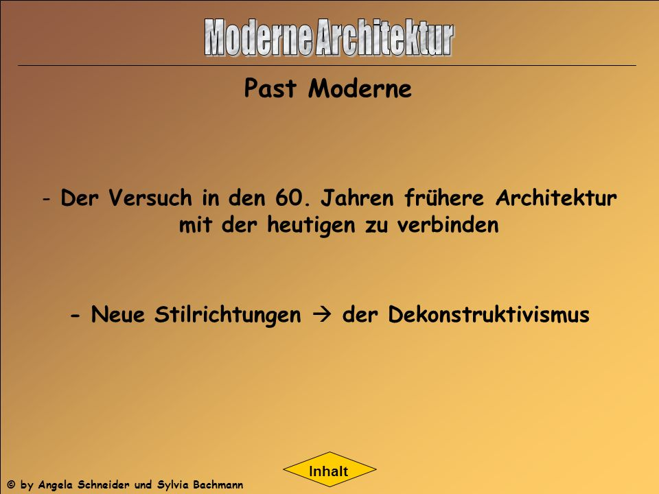 Moderne Architektur Past Moderne