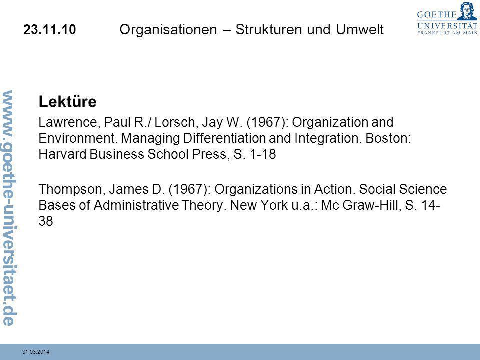 23.11.10 Organisationen – Strukturen und Umwelt