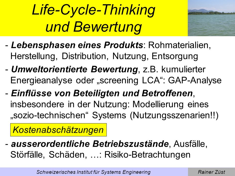 Life-Cycle-Thinking und Bewertung