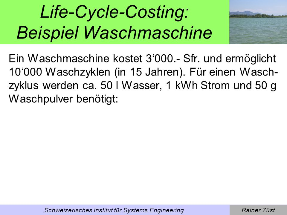 Life-Cycle-Costing: Beispiel Waschmaschine