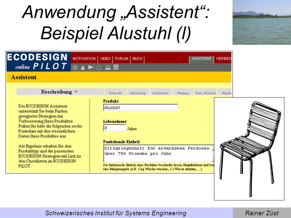 """Anwendung """"Assistent : Beispiel Alustuhl (l)"""