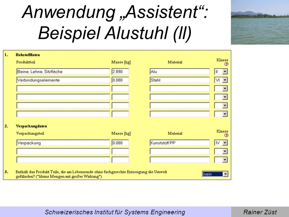 "Anwendung ""Assistent : Beispiel Alustuhl (ll)"