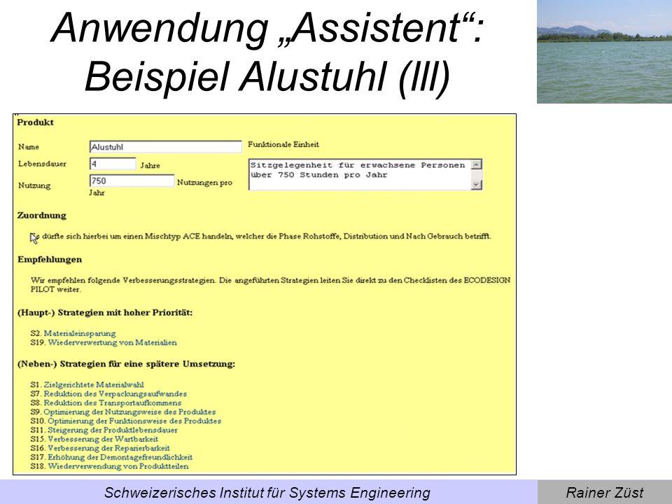"""Anwendung """"Assistent : Beispiel Alustuhl (lll)"""