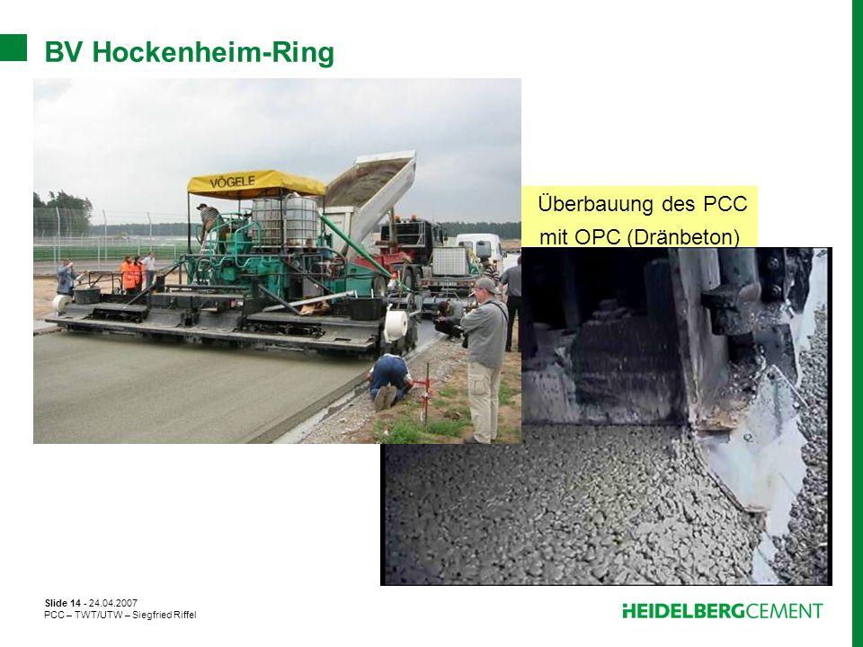 Überbauung des PCC mit OPC (Dränbeton)