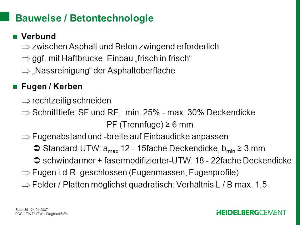 Bauweise / Betontechnologie