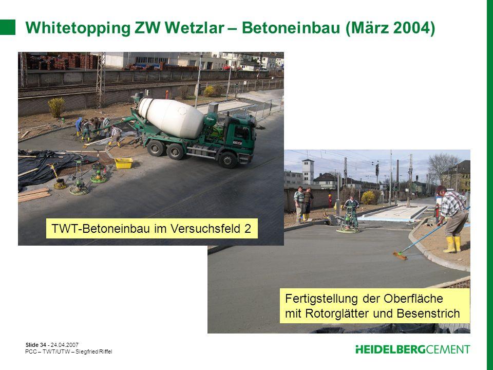 Whitetopping ZW Wetzlar – Betoneinbau (März 2004)