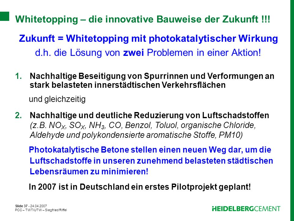 Zukunft = Whitetopping mit photokatalytischer Wirkung