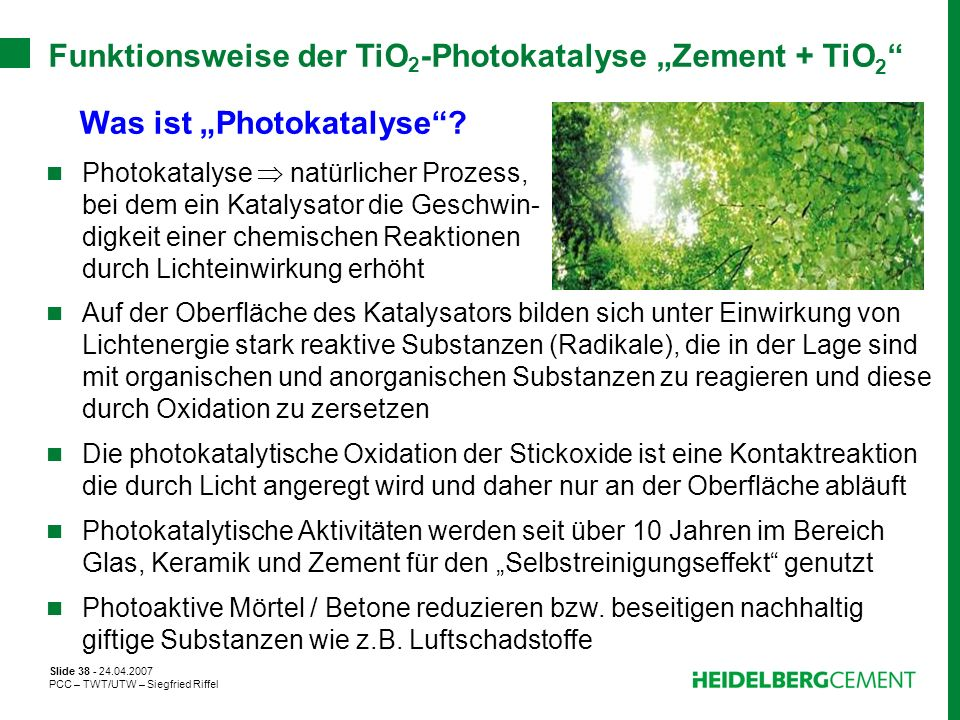 "Funktionsweise der TiO2-Photokatalyse ""Zement + TiO2"