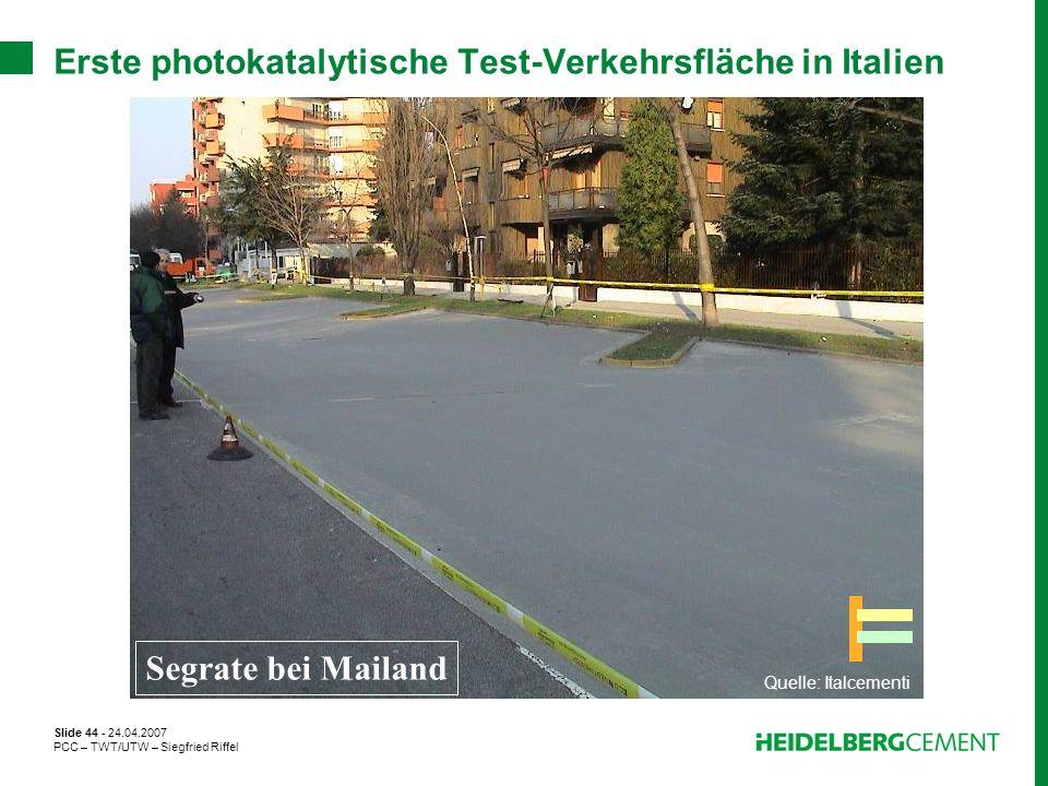 Erste photokatalytische Test-Verkehrsfläche in Italien