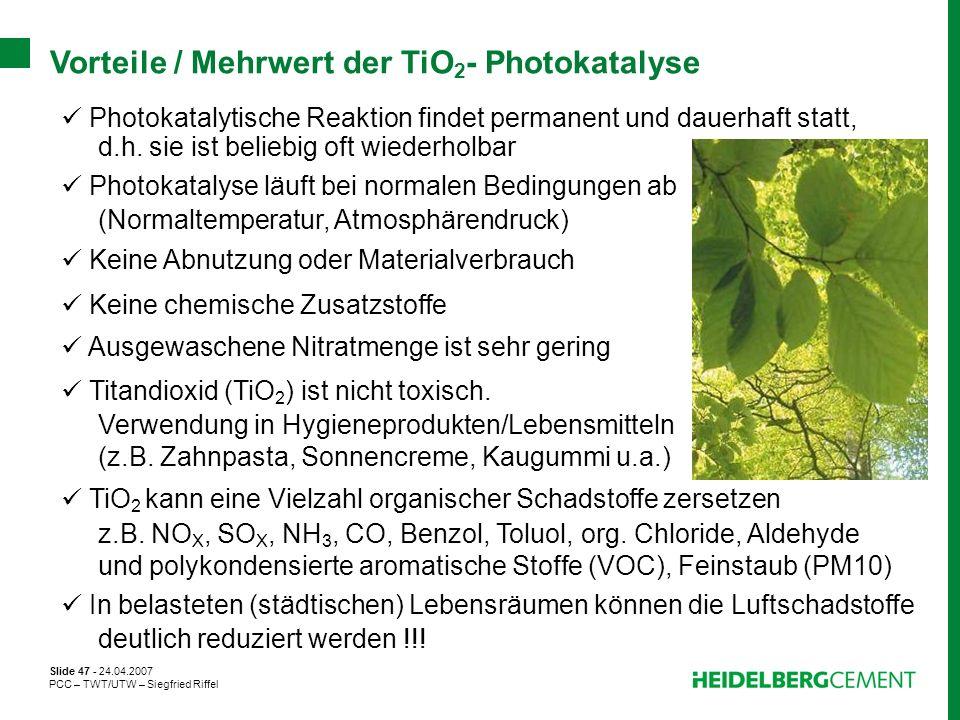 Vorteile / Mehrwert der TiO2- Photokatalyse