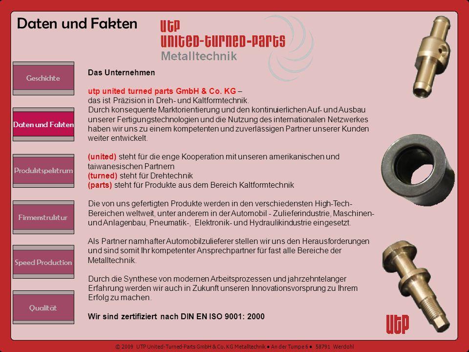 Daten und Fakten Geschichte. Das Unternehmen utp united turned parts GmbH & Co. KG – das ist Präzision in Dreh- und Kaltformtechnik.