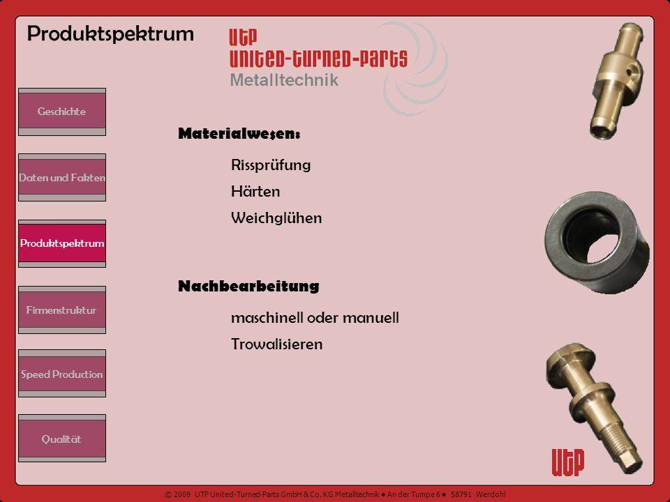 Produktspektrum Materialwesen: Rissprüfung Härten Weichglühen
