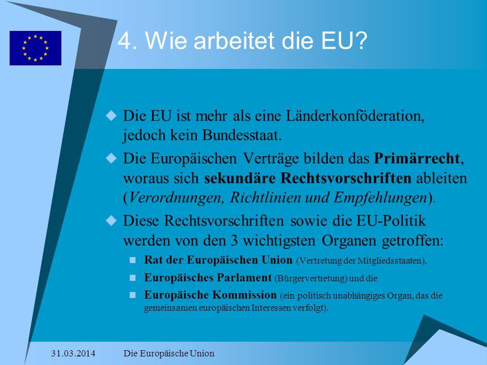 4. Wie arbeitet die EU Die EU ist mehr als eine Länderkonföderation, jedoch kein Bundesstaat.