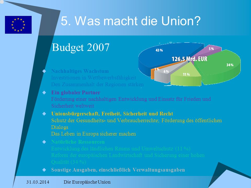 5. Was macht die Union Budget 2007