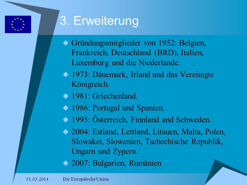 3. Erweiterung Gründungsmitglieder von 1952: Belgien, Frankreich, Deutschland (BRD), Italien, Luxemburg und die Niederlande.