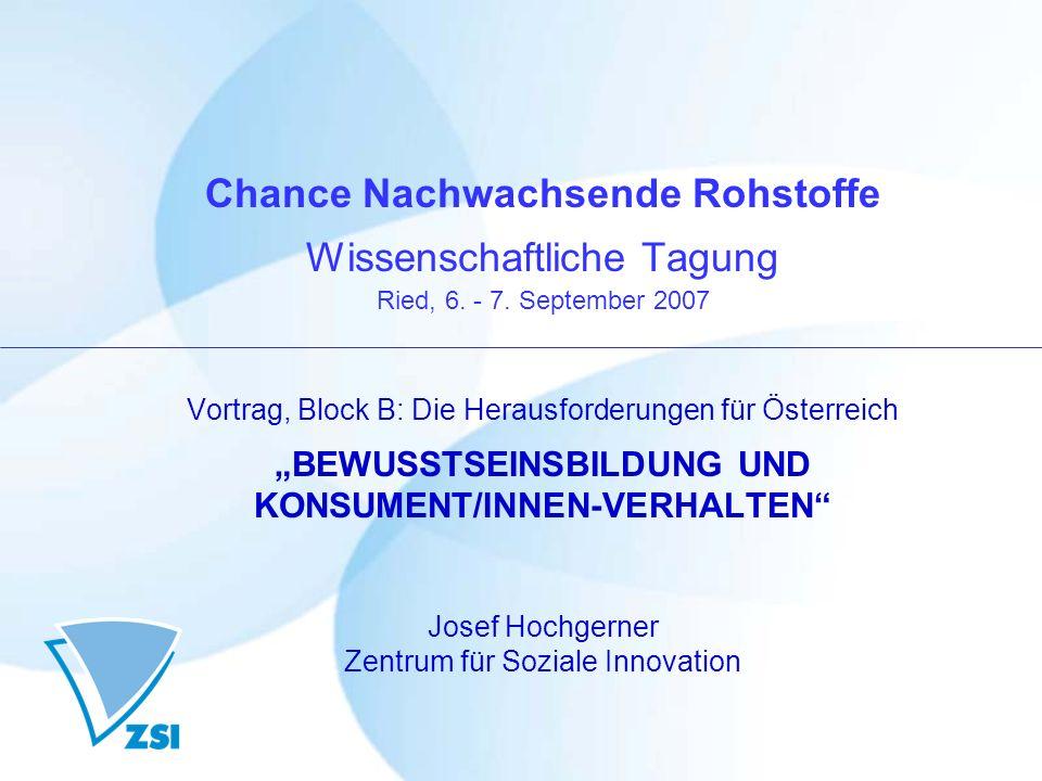 Chance Nachwachsende Rohstoffe Wissenschaftliche Tagung Ried, 6. - 7